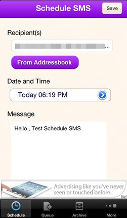 SMS scheduling process